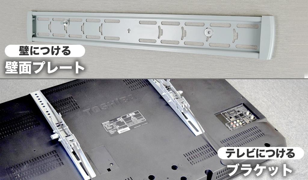 テレビ壁掛け金具は、基本2つのパーツで構成されます。