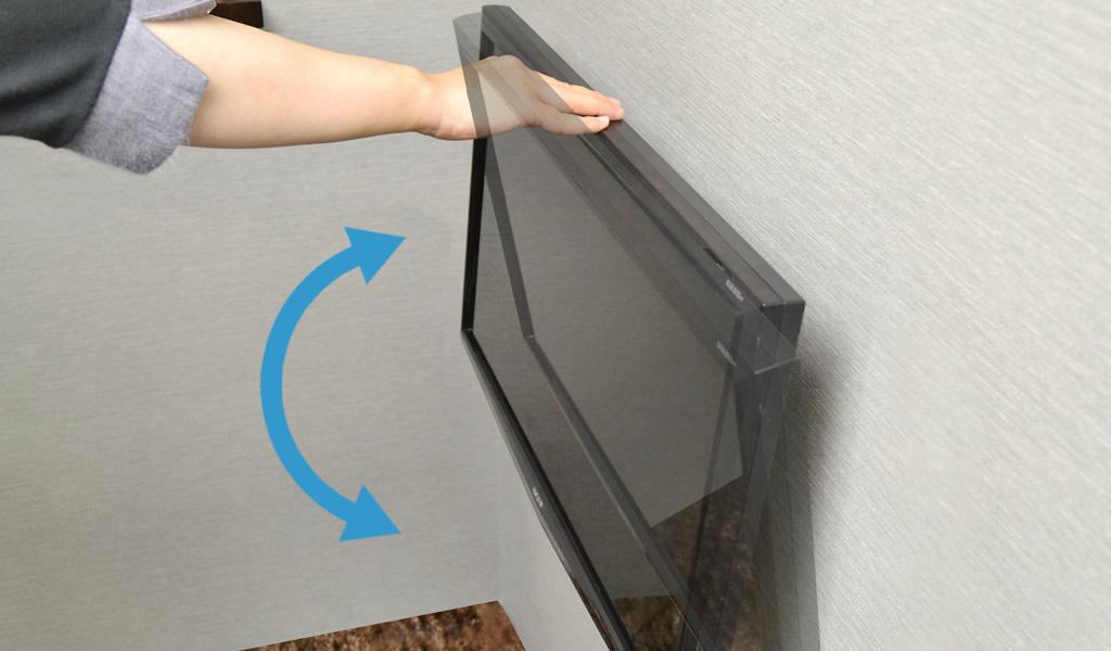 いつでも角度調節が可能なフリーロックチルトテレビ金具